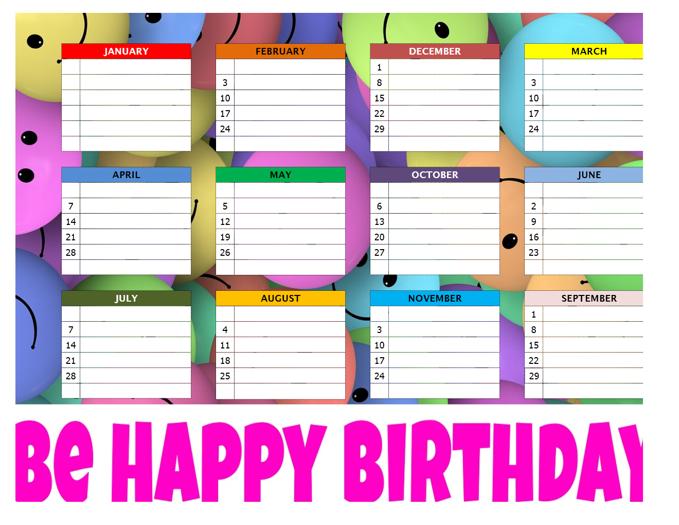 birthday chart template for classroom - birthday chart