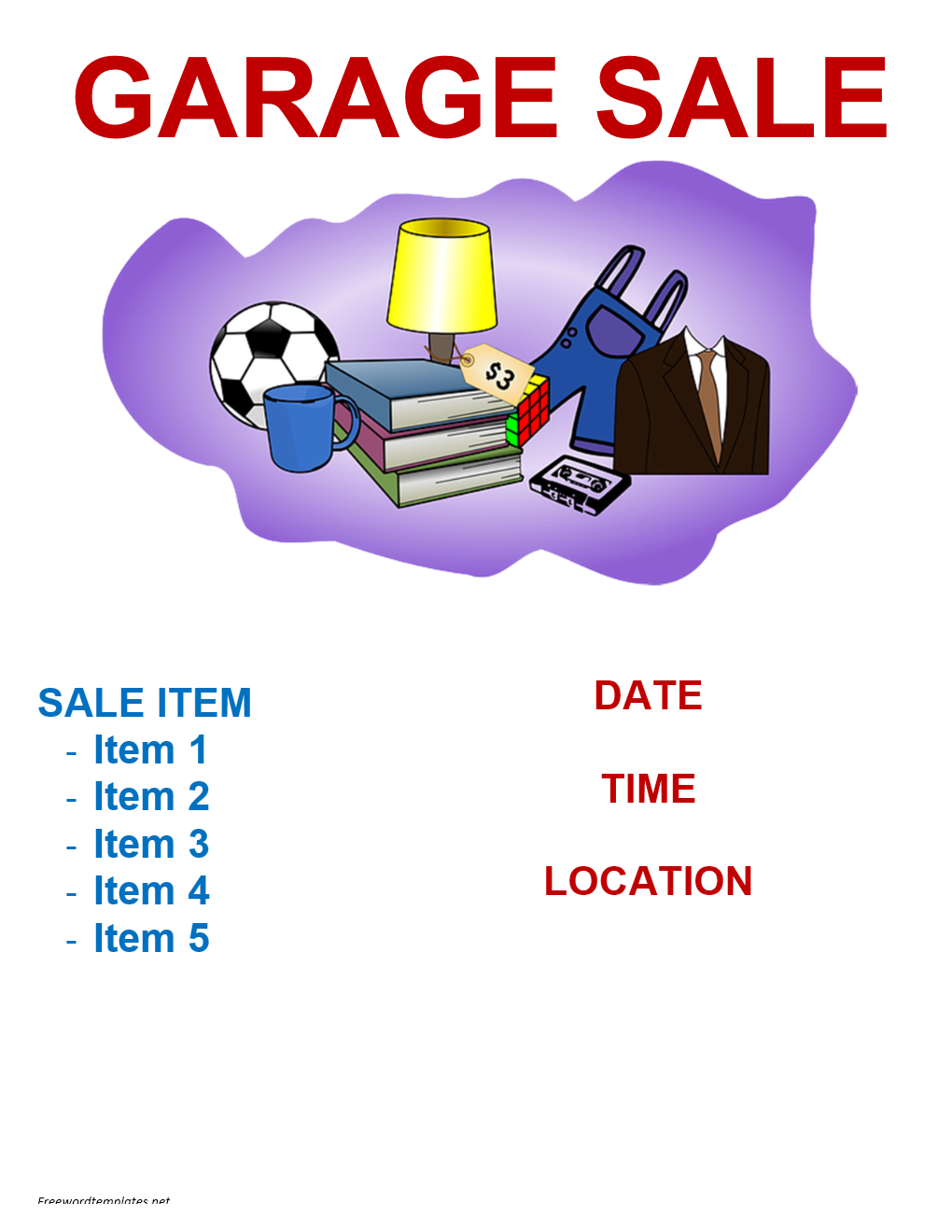 garage sale flyer template freewordtemplates net