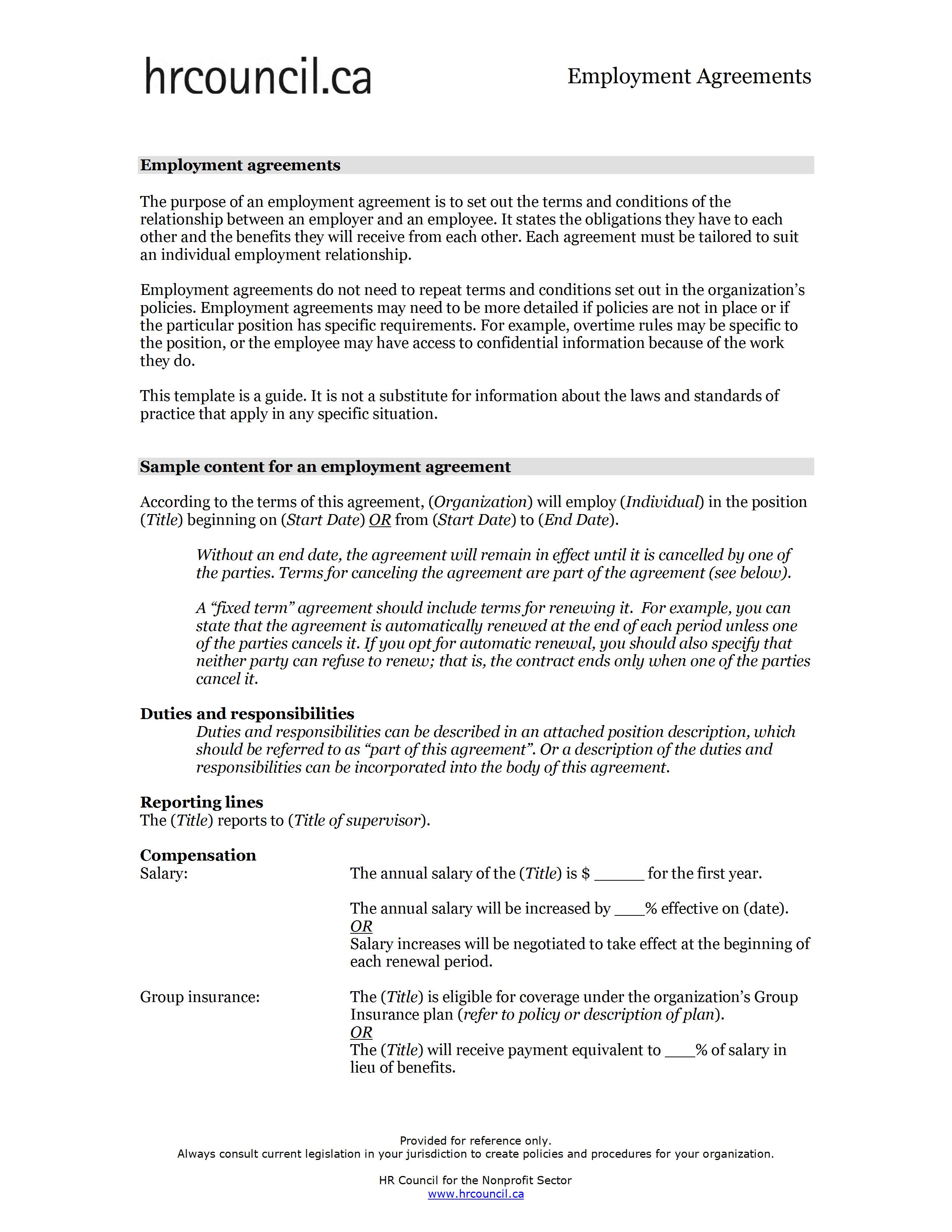Employment Contract Template Word Archives Freewordtemplates Net