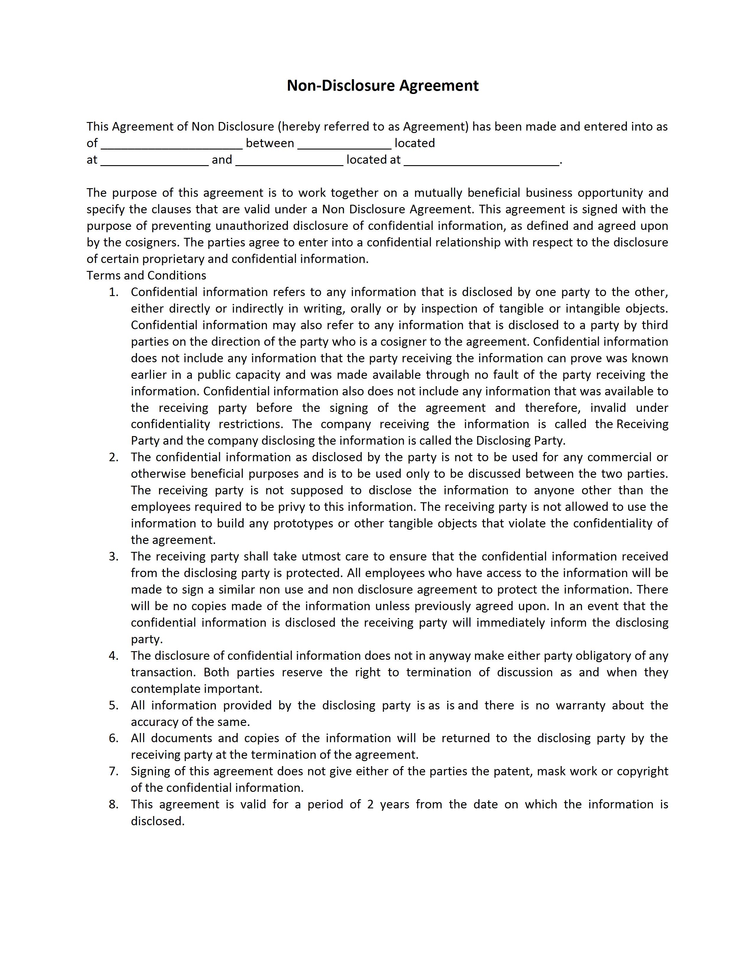 Non Disclosure Agreement Template - Bilateral nda template