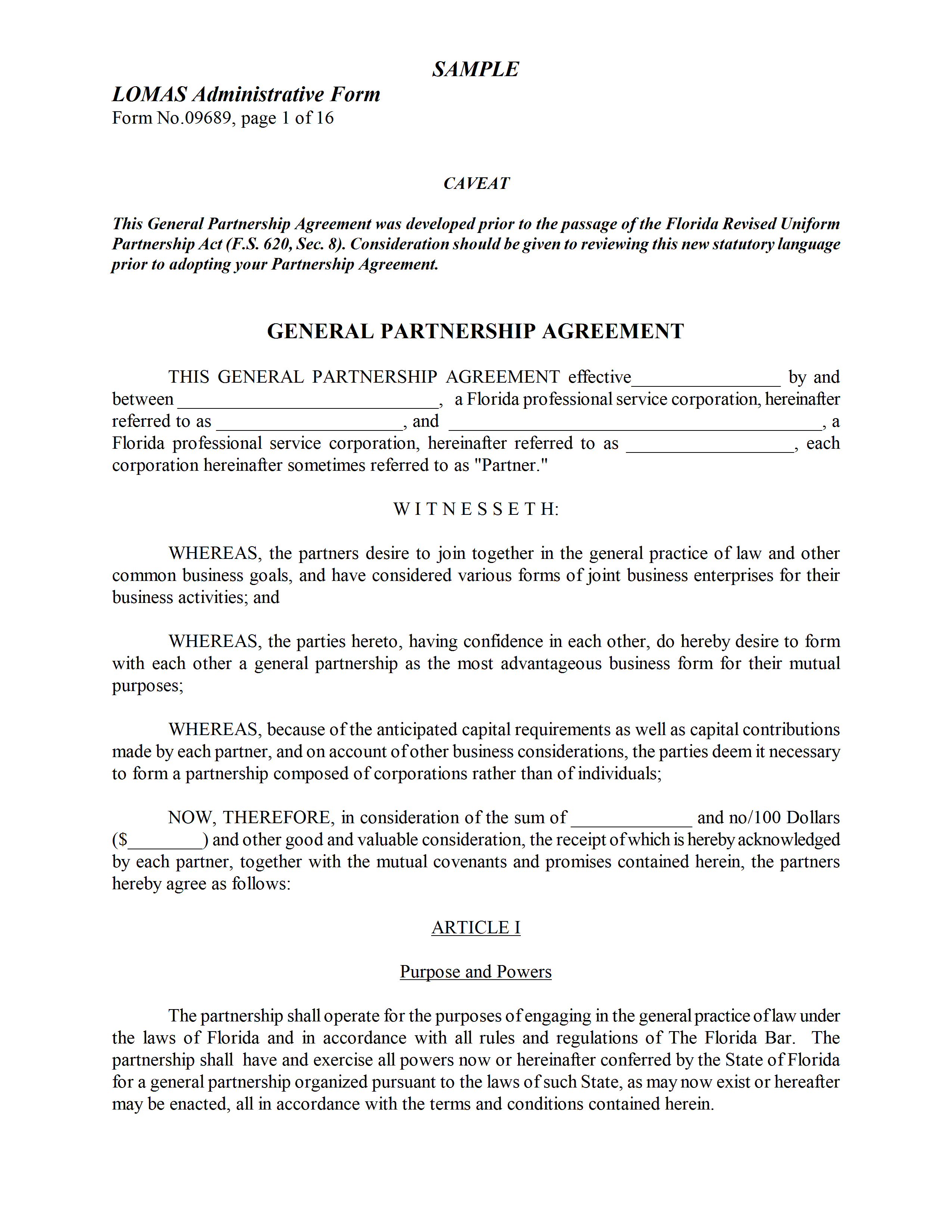 Business partnership contract sample