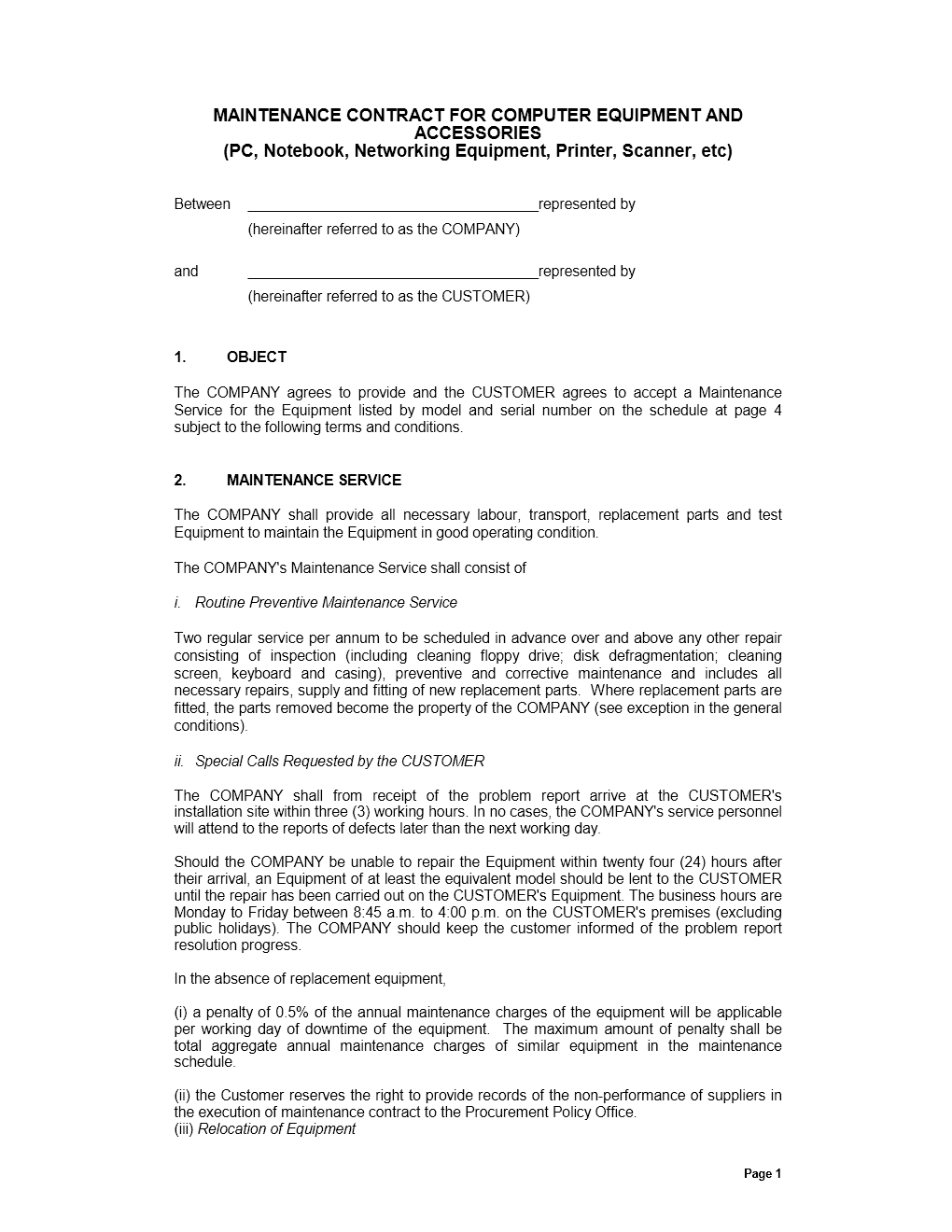 auto repair service agreement template