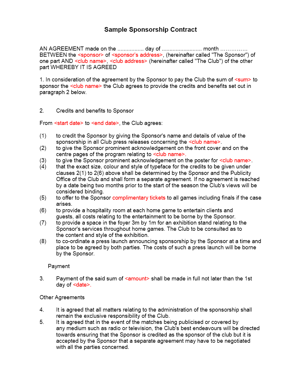 Sponsorship Agreement Template | Sponsorship Contract Template