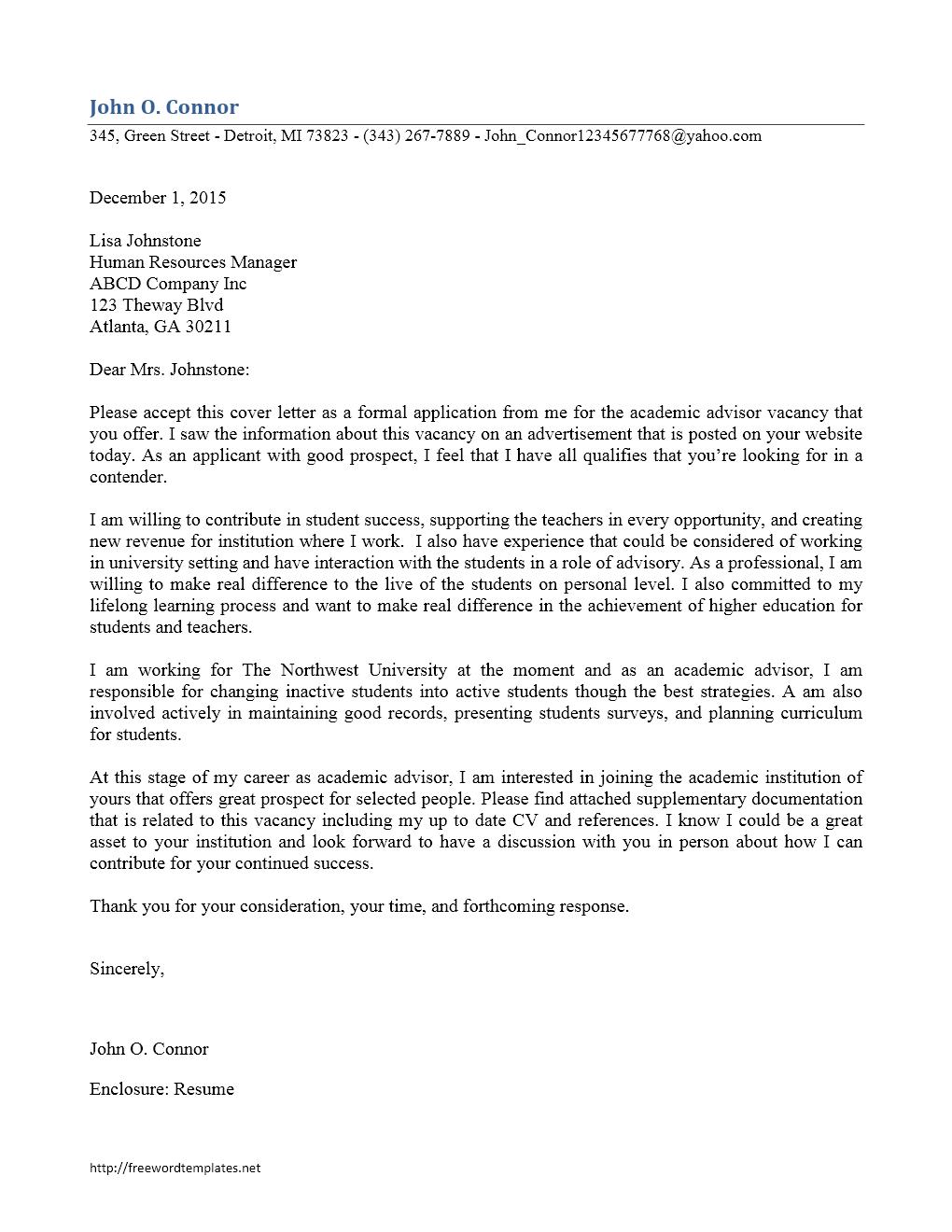 academic advisor cover letter sample Archives | Freewordtemplates.net