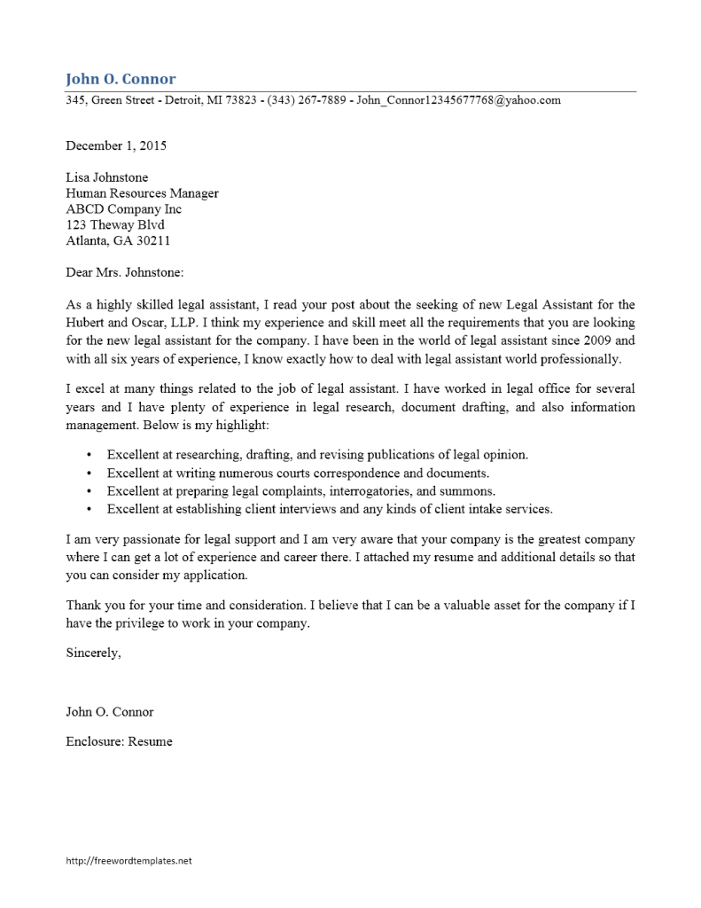 cover letter for legal assistant assistant cover letter 13375 | Cover Letter Legal Assistant 791x1024