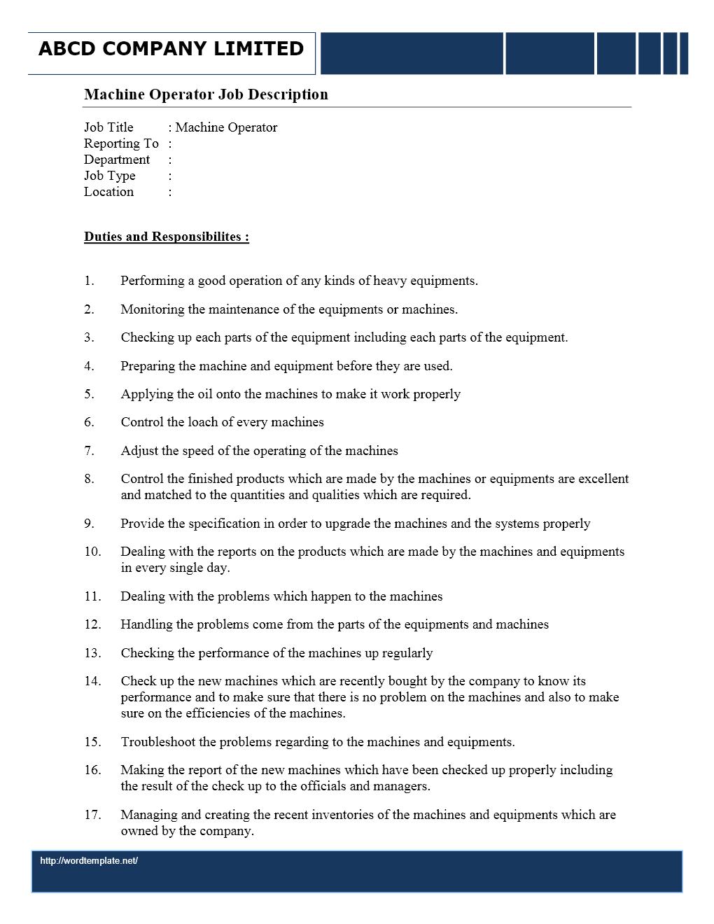 machine operator job description