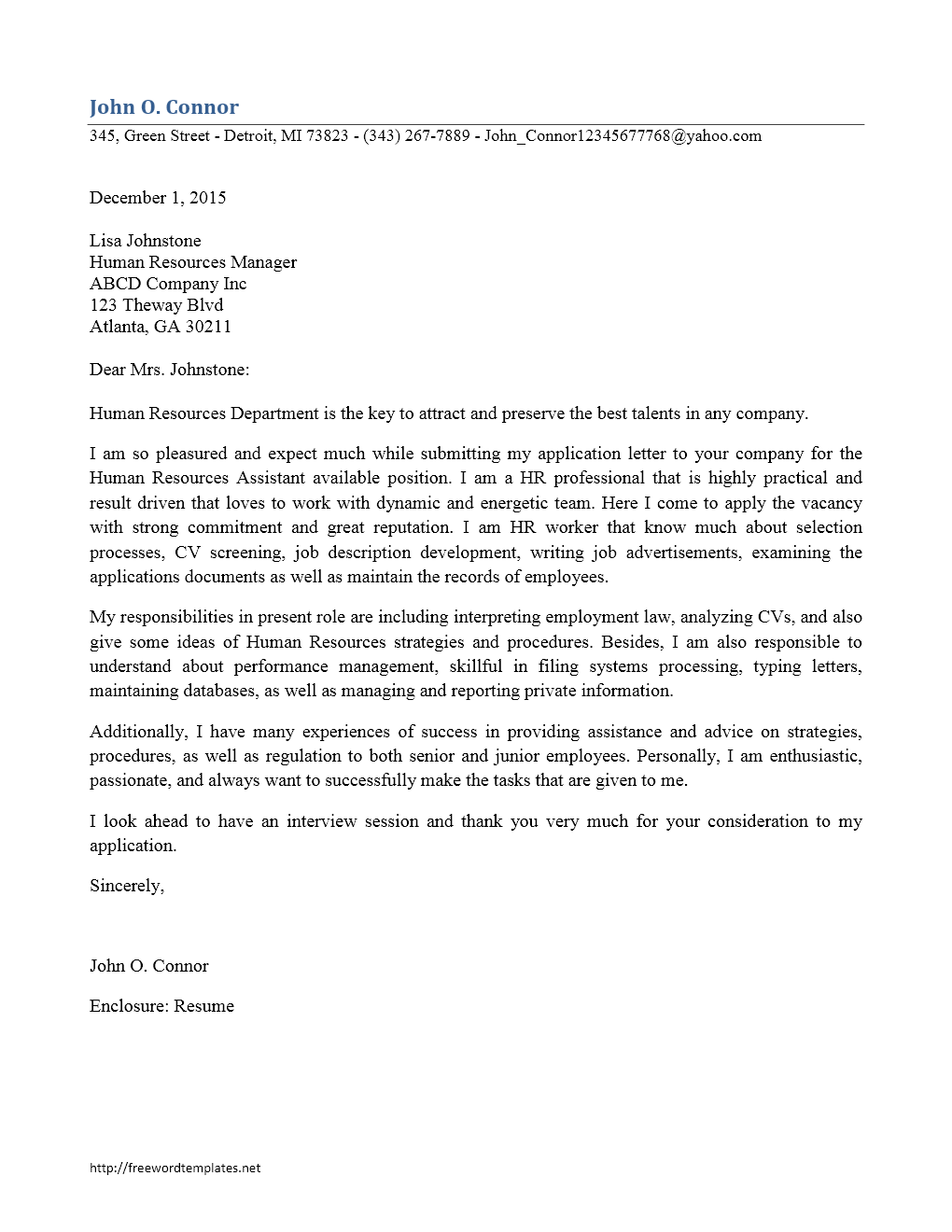 human resources staff cover letter