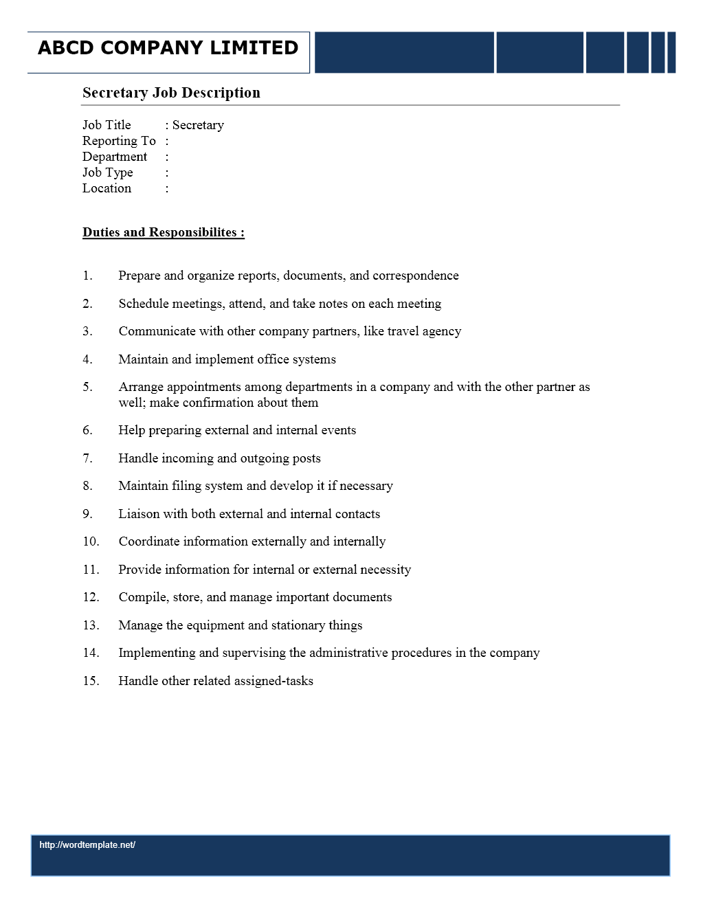 secretary job description