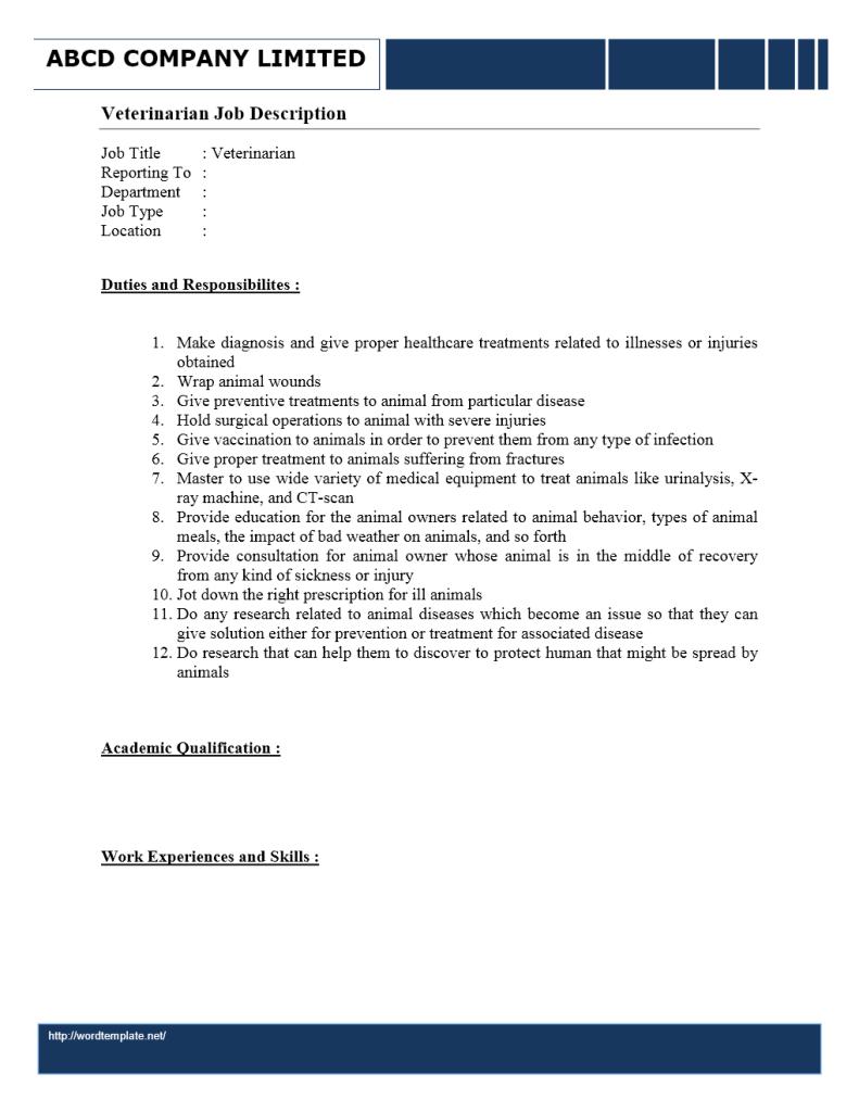 veterinarian job description