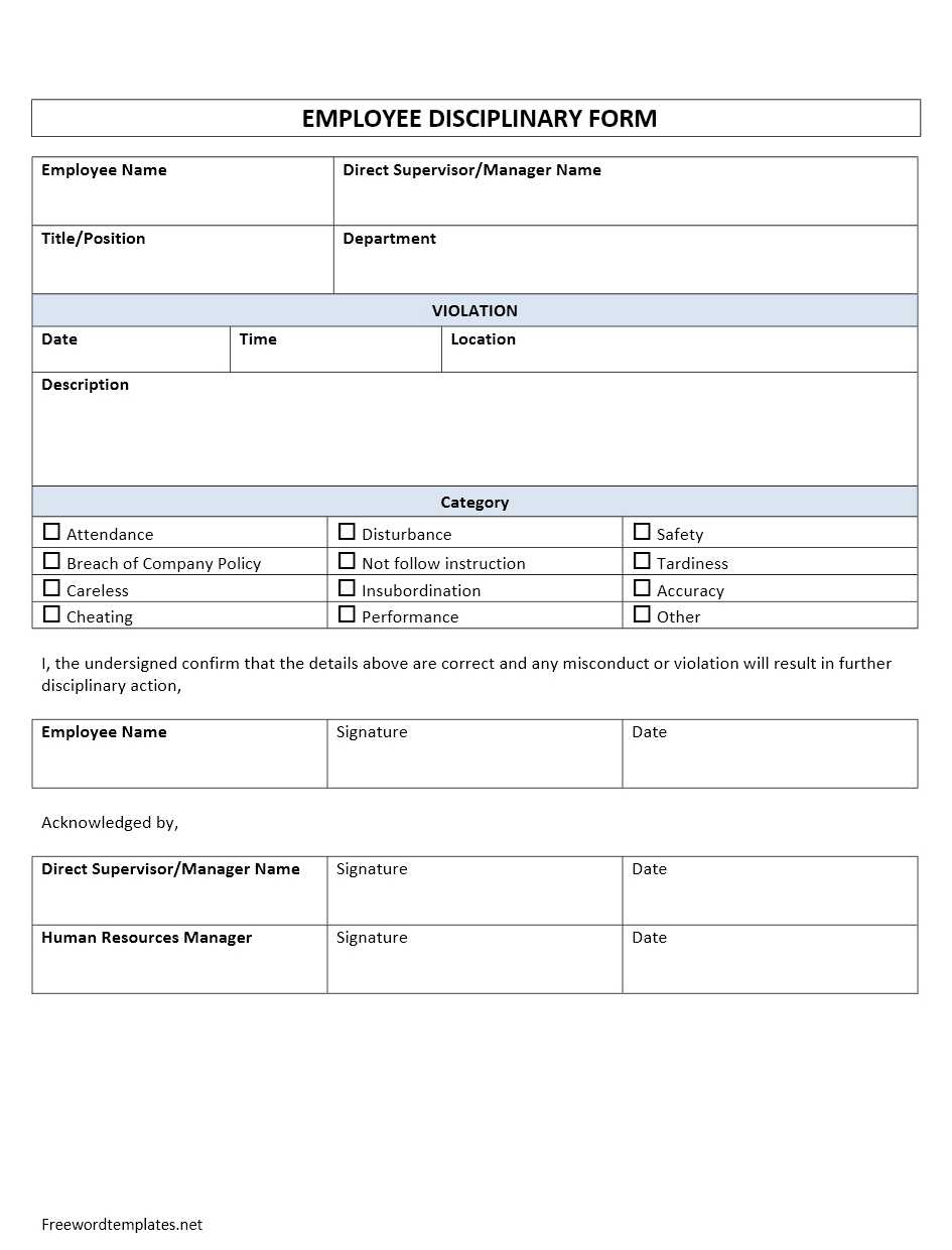 Employee disciplinary form for Progressive discipline template