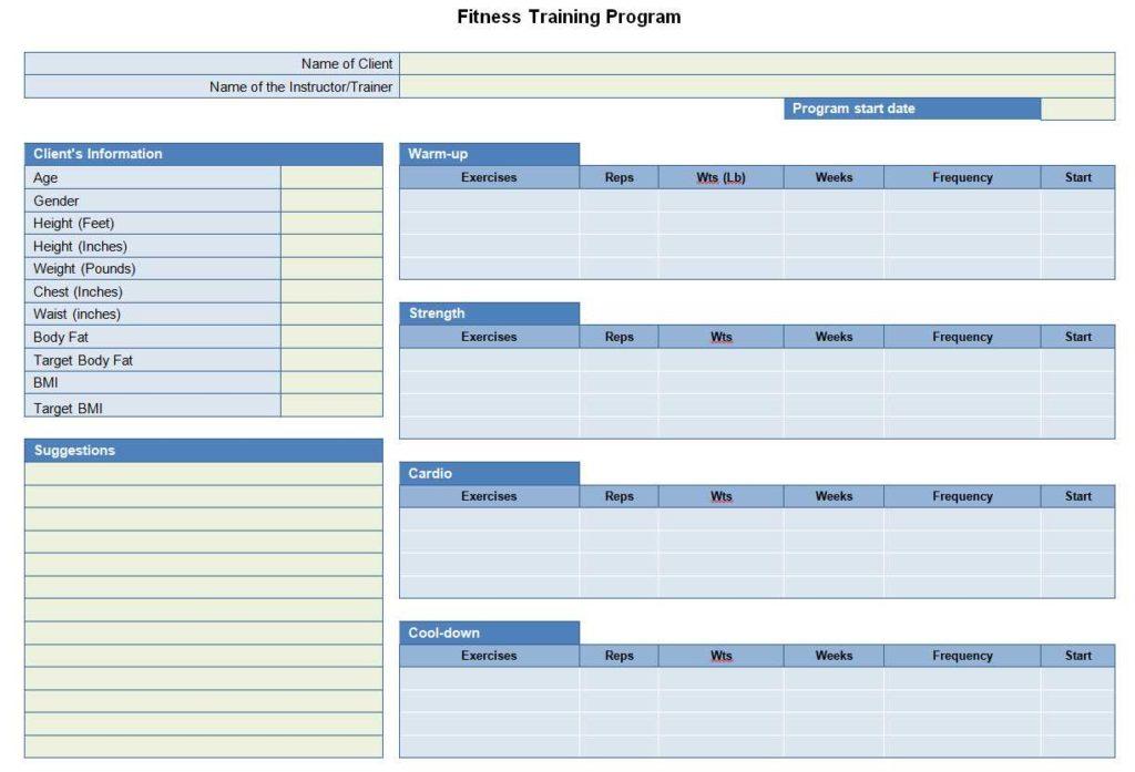 fitness training program sheet
