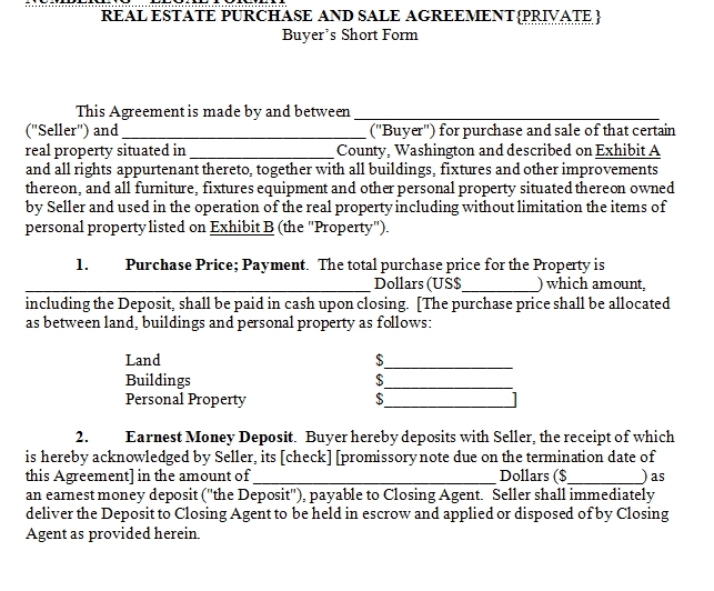 purchase agreement template for sale of house  House for Sale Contract
