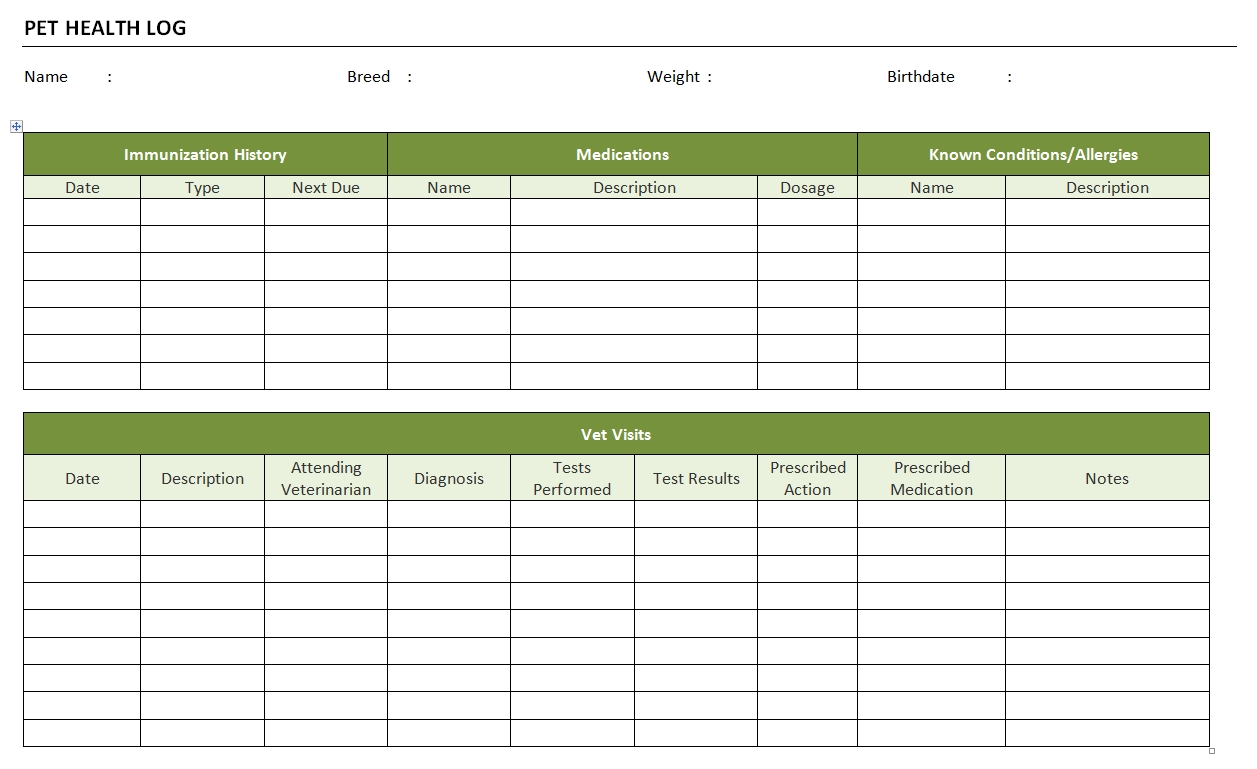 Pet health log for Pet health record template