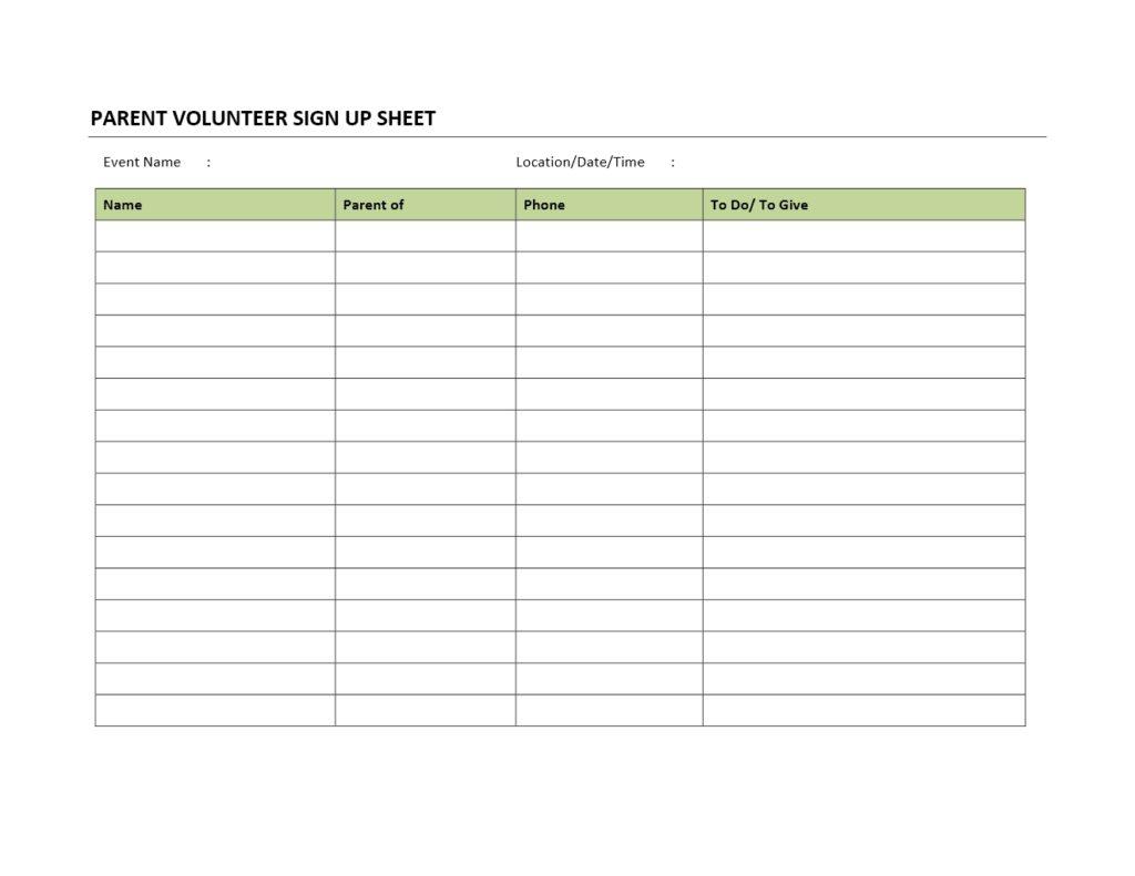 parent volunteer sign up sheet. Black Bedroom Furniture Sets. Home Design Ideas