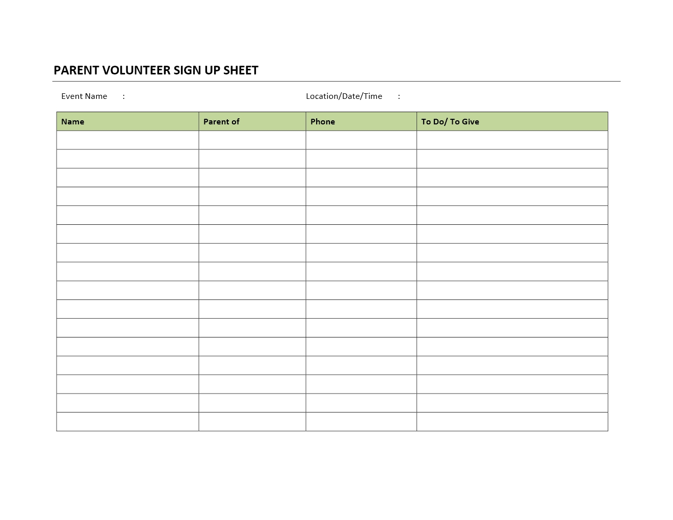 parent volunteer sign up sheet. Black Bedroom Furniture Sets. Home Design Ideas